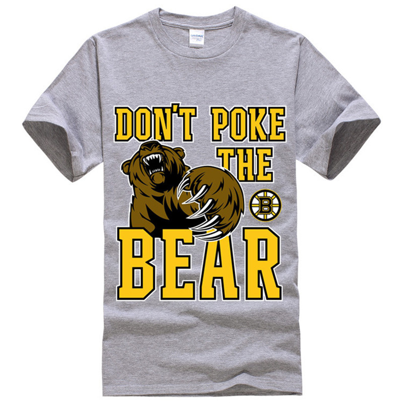 Boston Bruins Dont Poke the Bear Designer Men and Women Lovers Unisex Tee Shirt Homme 100% Cotton tshirt Black Grey Size XS-XXL(China (Mainland))