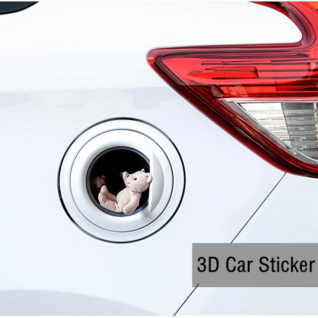 Hot!! 13*13 Funny Car Sticker 3D Teddy bear car Fuel tank cover stickers Vinyl Decals Waterproof Stickers Decoration Car Styling