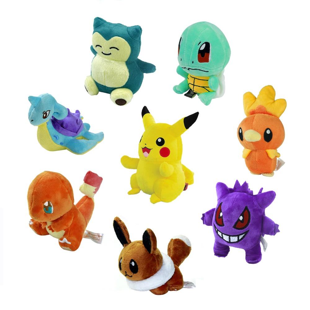 "8 Style Mini Pokemon GO Figure Plush Doll Toy 5.5"" Pikachu Charmander Gengar Eevee Snorlax Lapras Torchic Figure Toy Gift(China (Mainland))"