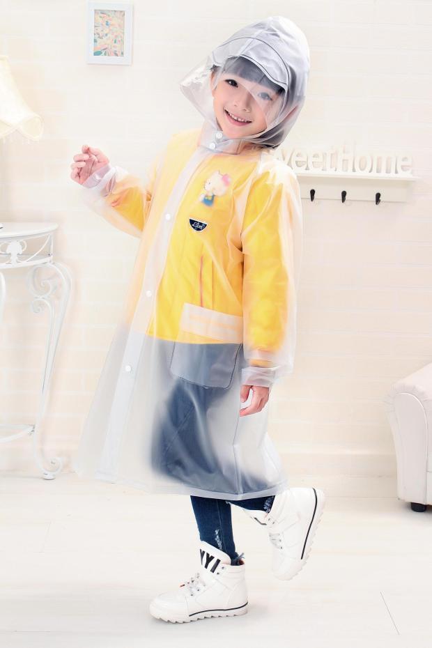 Kids Transparent Rain Coat pvc Children Soft Raincoat Boy Girls Waterproof Rainwear Rainsuit with Hood(China (Mainland))