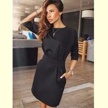 2016 Autumn Dress Women Fashion Casual Mini Dress Solid Color Short Sleeve O-neck Women Dress Two Side Pocket Black Dresses(China (Mainland))