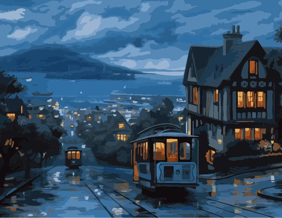 Diy digital oil painting 50 65cm bus frameless paint by number kits acrylic painting unique gift home decor Paris Night(China (Mainland))