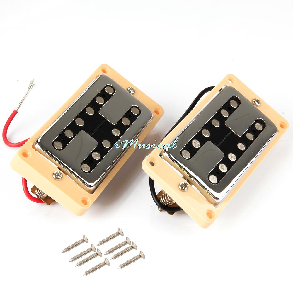 Free Shipping 2pcs Double Neck Bridge Humbucker Pickups with Yellow Frame for Electric Guitar(China (Mainland))