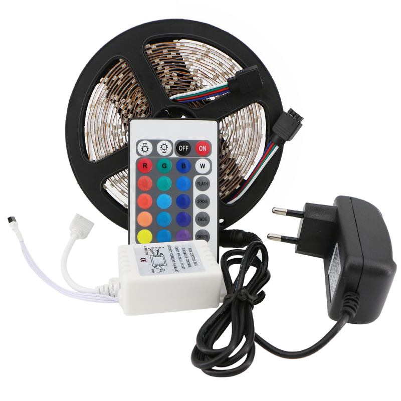 RGB LED Strip 3528 SMD Flexible Ribbon Light 5M 300Leds LED Tape Cold/Warm White Red Green Blue+Remote Controller+DC12V Adapter(China (Mainland))