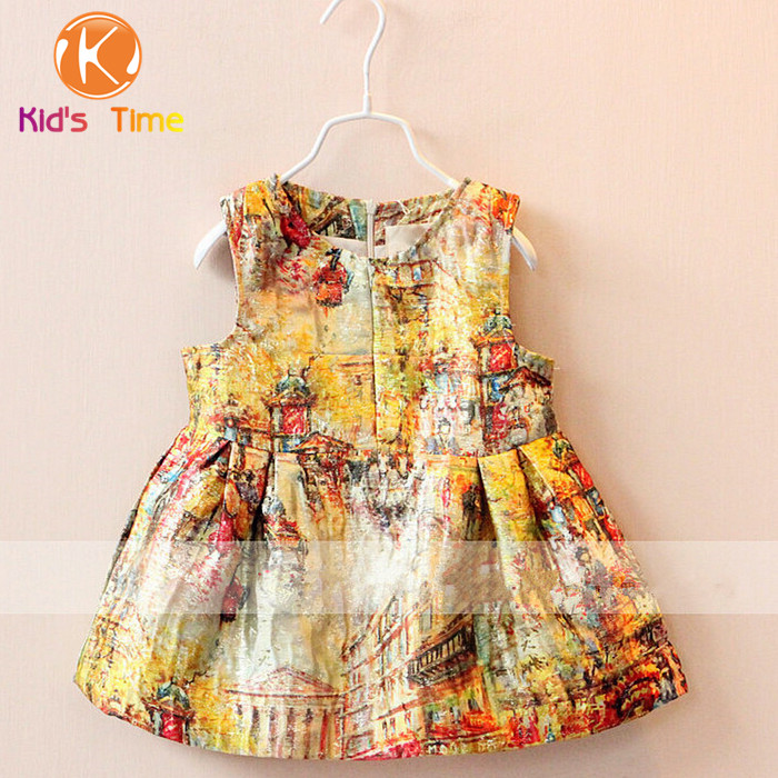 Luxury Girls Brand Vest Princess Print Retro Dress Baby Girl Gold Print Design Dresses Kids Winter Clothes Children CLothing(China (Mainland))