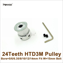 POWGE 24 Teeth 3M Timing Pulley Bore=5/6/6.35/8/10/12/14mm Fit Width=15mm HTD3M Belt 24T 24Teeth 3M Pulley CNC Engraving Machine(China (Mainland))