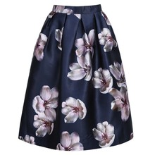 Plus Size Women Skirt Vintage Style Floral Printed Ball Gown Pleated Long Skirt High Waist A line American Apparel Skirts Saias