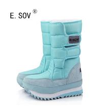 E. sov 2017 cargadores populares de la nieve para las mujeres talón plano 9 colores Mujeres de Talla grande de Invierno Impermeables Botas de Mujer Zapatos de Invierno a prueba de agua(China (Mainland))