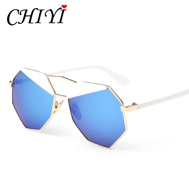 CHIYI CUSTOM Brand Charm Irregular Lens Mirror Sunglasses Women Shades Italy Design Pilot Vintage Metal Frame Sunglasses CY088(China (Mainland))