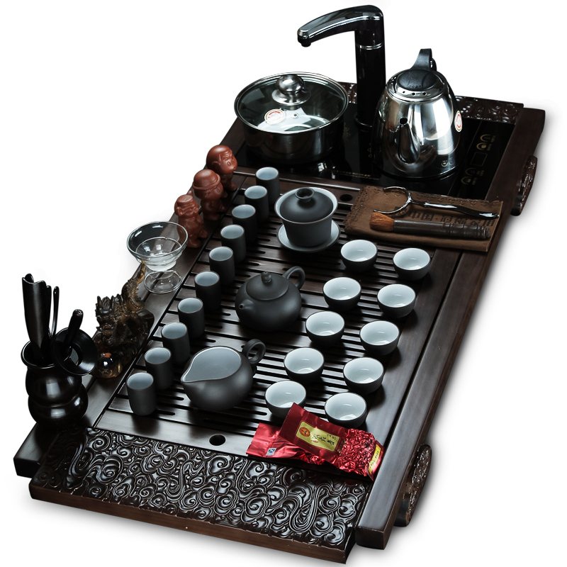 Kung fu tea yixing tea set four in one induction cooker solid wood tea tray