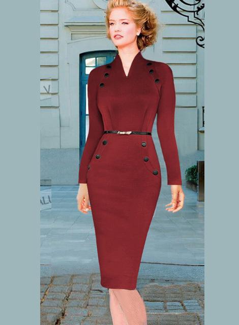 eSale Women Fashion V-neck Vintage Knee-length Sheath Party Prom Work Office Business Bodycon Midi Autumn Winter Dress CG293(China (Mainland))