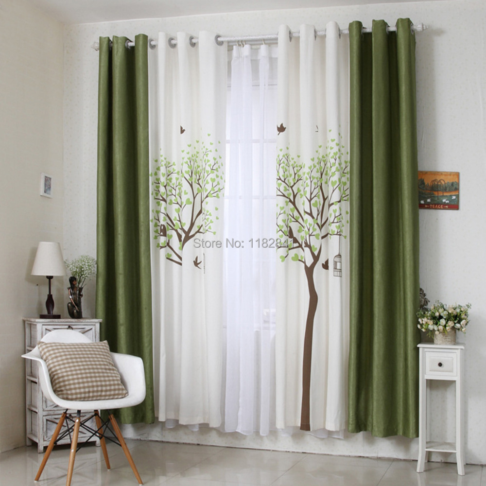 Art of wood 2015 korean new design printed curtains cafe for Curtains in a living room