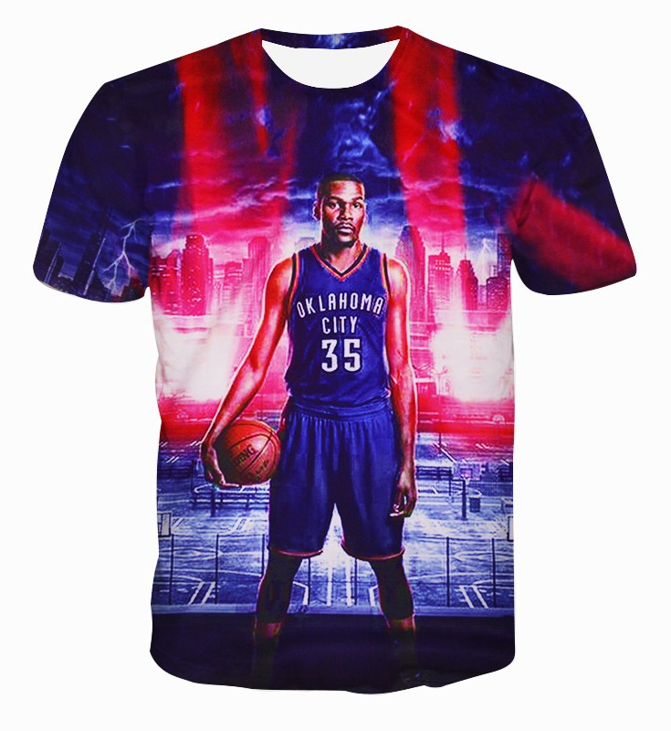 Sports T Shirts Men super basketball star cartoon Man T-Shirt Short Sleeve Cotton Men's street wear Tops Tees Kevin Durant(China (Mainland))