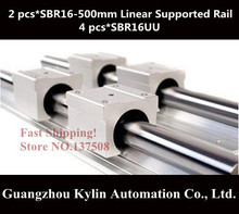 Best Price! 2 pcs SBR16 500mm linear bearing supported rails+4 pcs SBR16UU bearing blocks,sbr16 length 500mm for CNC parts(China (Mainland))