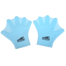 Blue 1Pair Swimming Webbed Gloves Adult  Swimming Finger Fin Hand Paddle Wear Silicon  BHU2(China (Mainland))