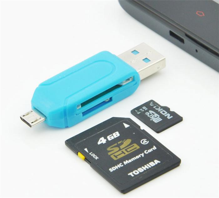 30pcs Free Shipping Universal Card Reader phone PC card reader Micro USB OTG Card Reader OTG TF / SD flash memory Wholesale(China (Mainland))