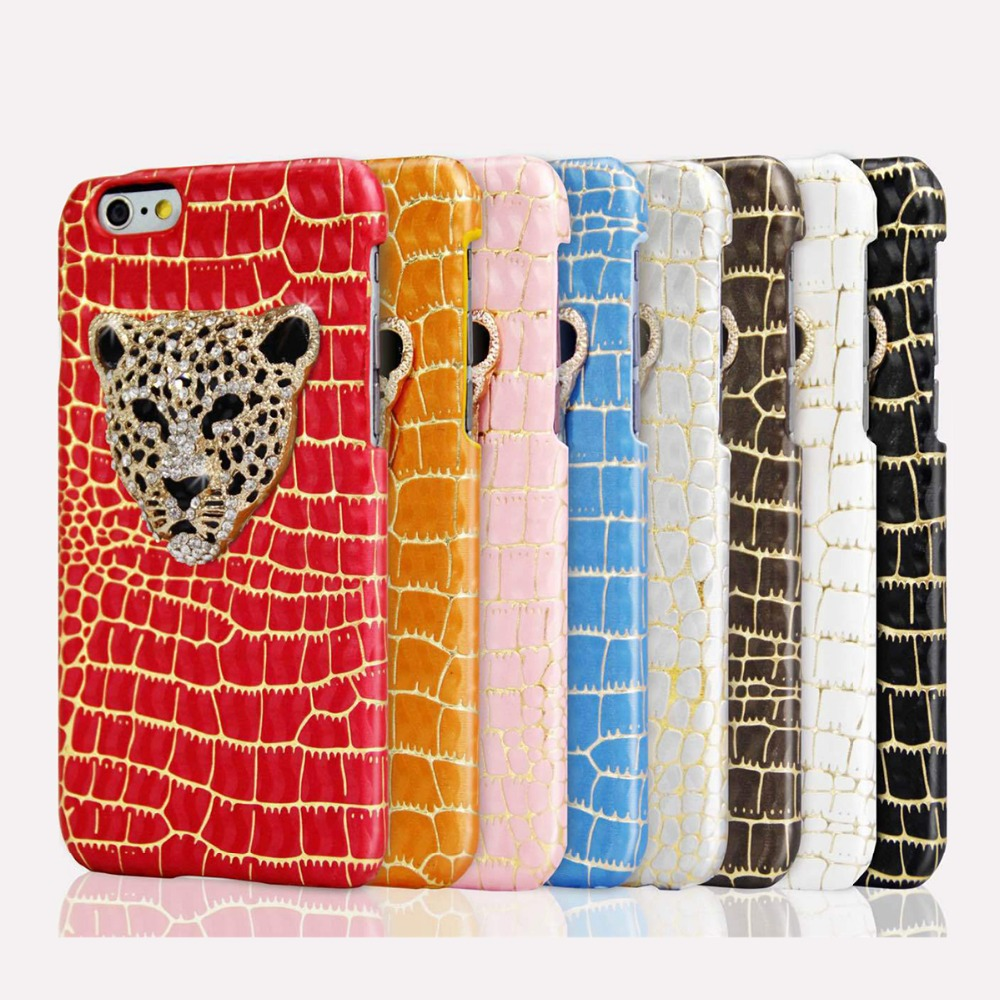 100pcs/lot Leopard Crystal Back Hard Smart Phone Cases Cover for Apple iPhone 6 6S Plus 5 5s Personality Phone Protective Case(China (Mainland))