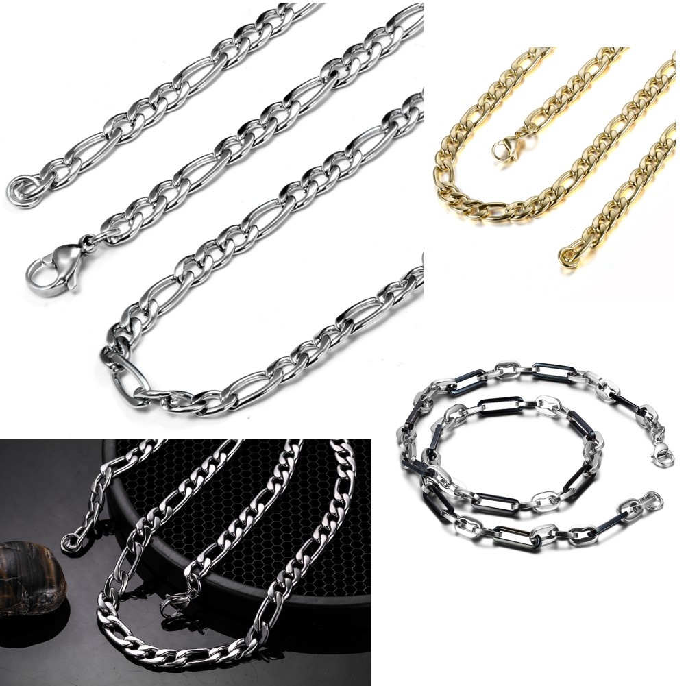 4/7/8mm Wide Stainless Steel Silver & Gold Necklace Men Jewelry Wholesale 4 Sizes New Trendy Figaro Chain Necklace(China (Mainland))