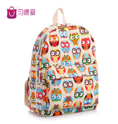2014 Korean Style Vintage Designer Owl Printing Backpack Canvas Bag Student School Fresh Double Shoulder - Waiting for you JL store