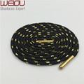 Weiou Sports boot laces metallic Shiny Gold shoelaces white black round glitter Bootlaces fun Shoe laces