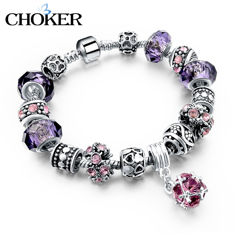 925 Silver Crystal Charm Bracelets for Women With Purple Murano Glass Beads bracelets & bangles Love DIY Jewelry Bracelet Femme(China (Mainland))