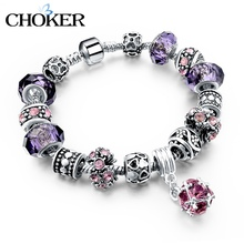 925 Silver Crystal Charm Bracelets for Women With Purple Murano Glass Beads DIY Jewelry Bracelet Femme valentine's day Pulseras(China (Mainland))
