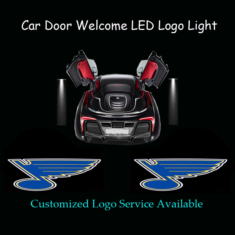 2x Car Door Welcome Ghost Shadow St. Louis Blues Logo Puddle Spotlight Laser Projector CREE LED Light (1181)(China (Mainland))