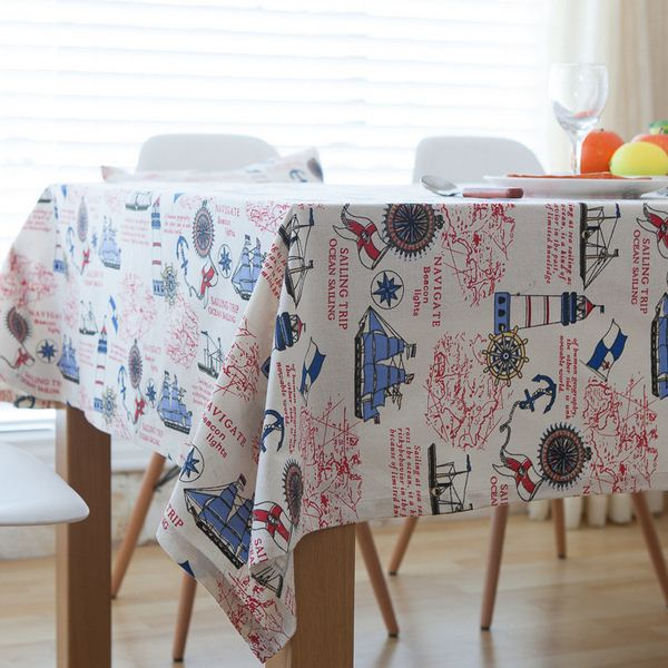 Cartoon Cotton Linen Table Cloth Mediterranean Style Anchors Print Rectangle Coffee Table Cover manteles para mesa ZB-62(China (Mainland))