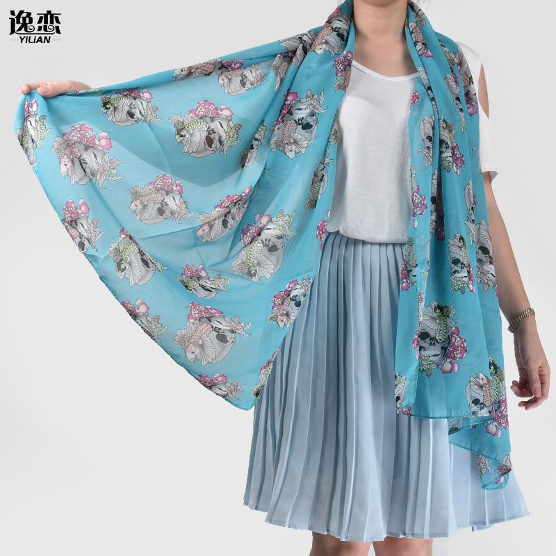 Fashion Scarves For Women 2015Silk Ghost Fish Pattern Colourful Snood/SF353(China (Mainland))