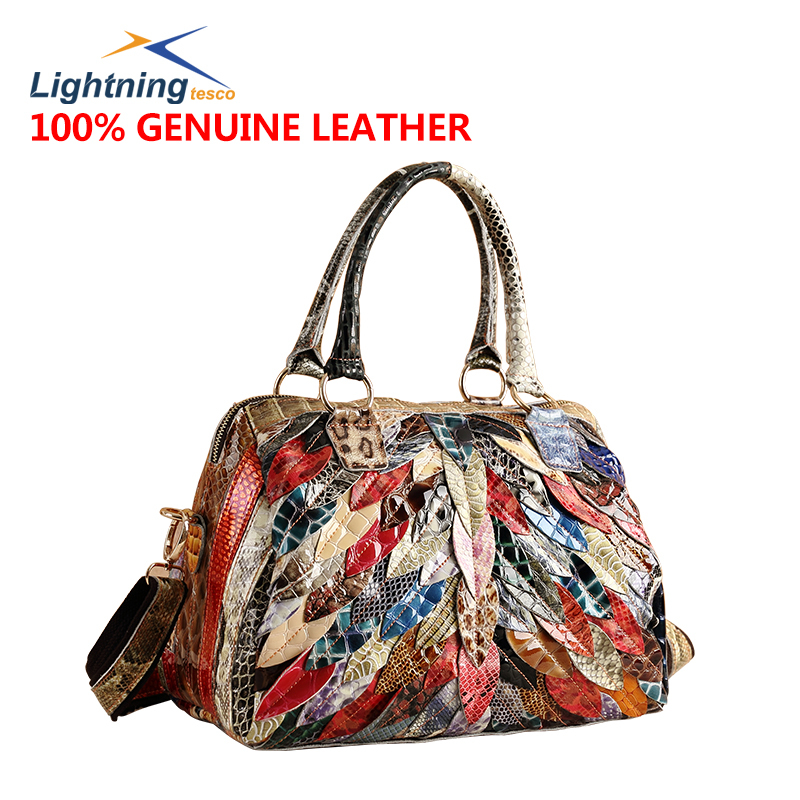2015 Fashion Cowhide Genuine Leather Bags for Women Casual New Women Messenger Bag Patckwork Shoulder Bags Purses and Handbags(China (Mainland))