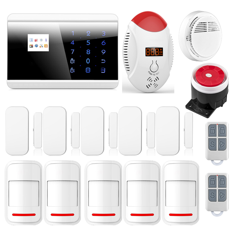2016 Newest Wireless GSM PSTN Home Alarm System Android iOS APP Glass Vibration Sensor CO Detector 8018G P630(China (Mainland))