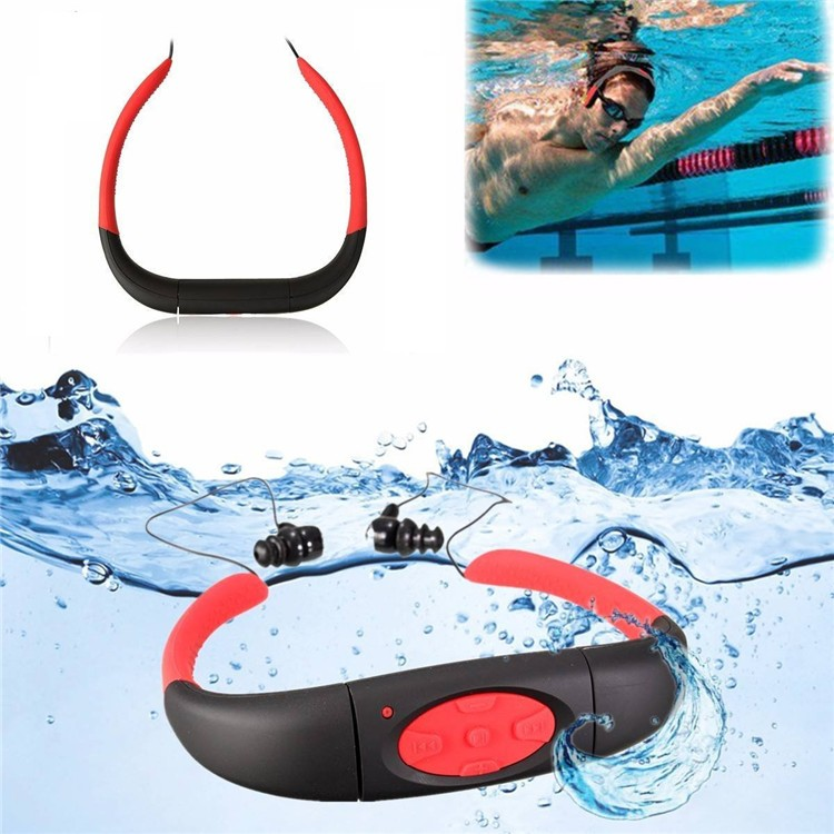 New Askmeer 3M Waterproof Sport Stereo 4GB MP3 Player Headset with FM Radio Rechargeable Mp3 Music Earphone For Swimming Surfing