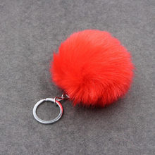Chaveiro de pele de coelho falso pompom chaveiro trinket charme saco chaveiro titular anel chave jóias presente(China)