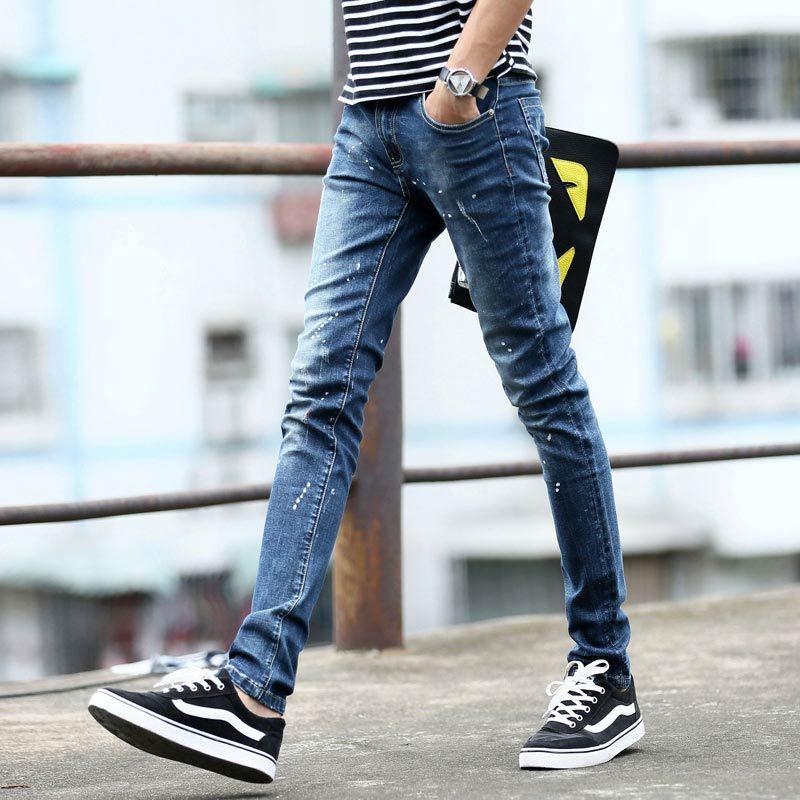 Buy 2015 Fashion Slim Fit Stretch Skinny Jeans Men Denim Brand Pencil Pants