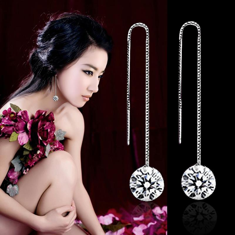 Hot Wholesale Jewelry 925 Sterling Silver Crystal Round Hook Long Dangle Earrings Earring Pendant EX1102(China (Mainland))