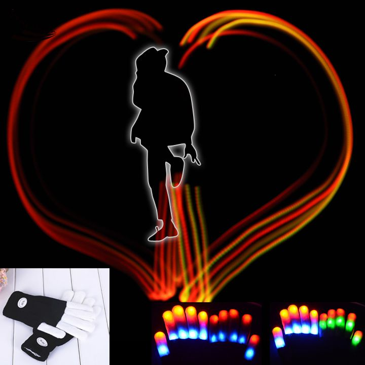 Rave 2015 LED Fingers Flashing Gloves Glow 7 Mode Finger Light Up Glow Mittens DISCO Party Hallowmas Party Decorations(China (Mainland))