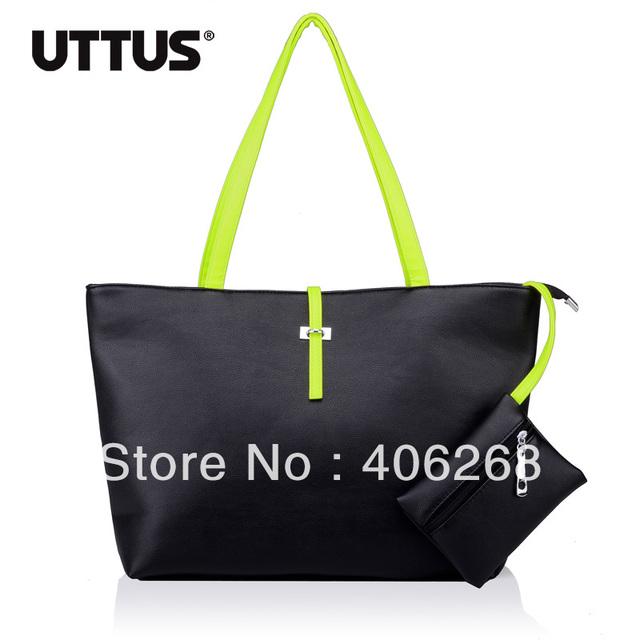 free  shipping  fashion  neon Color block brief  pu leather ladies' handbag shoulder bag
