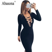 Buy Vestidos Cotton Women Tie Autumn Bodycon Party Dress Sexy Deep V Neck Criss Long Sleeve Night Club Bandage Dress for $7.91 in AliExpress store