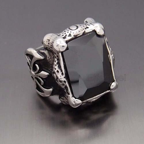 Blackjack men's stainless steel black onyx and cz ring