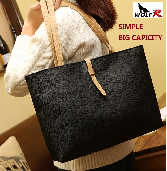 2016 New arrival Women Casual Big Bag Tote Fashion Women's Handbags Lady Shoulder PU Leather large bags Hot sales 5 colors