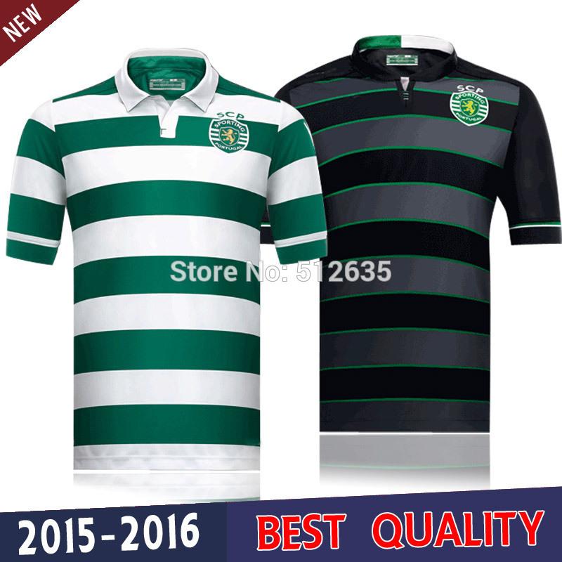 A+++ Sporting Lisbon Soccer Jersey football shirts 2016 Sporting Lisbon shirt 2015 home white green Stripe soccer Jersey(China (Mainland))