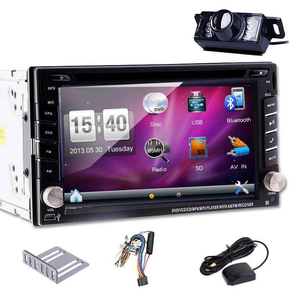 Rear Camera+6.2'' HD In-Dash GPS Navigation Car Stereo DVD CD MP3 Player Bluetooth Double 2 DIN Car Radio Audio Video USB SD AUX(China (Mainland))