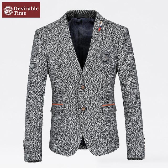Мужчины серый свободного покроя пиджак конструкции Большой размер м-4xl 2016 весна ...