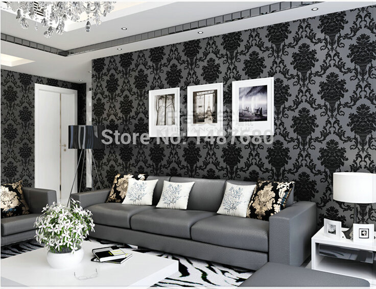 Damask 3d wall paper desktop wallpaper mural imitation non for Living room wallpaper feature wall