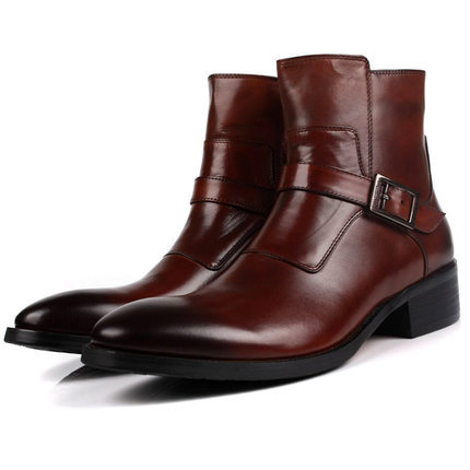 2015 New Mens boots for autumn&amp;winter pointed toe ankle boots first layer of cowhide business motorcycle western cowboy boots<br>