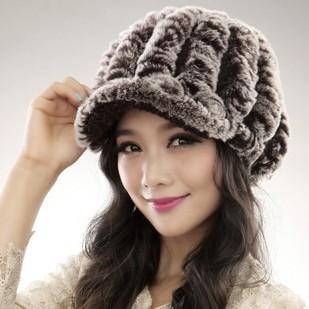 2015 new Factory Price rex rabbit hat Genuine Women's Winter Rex rabbit Fur cap(China (Mainland))
