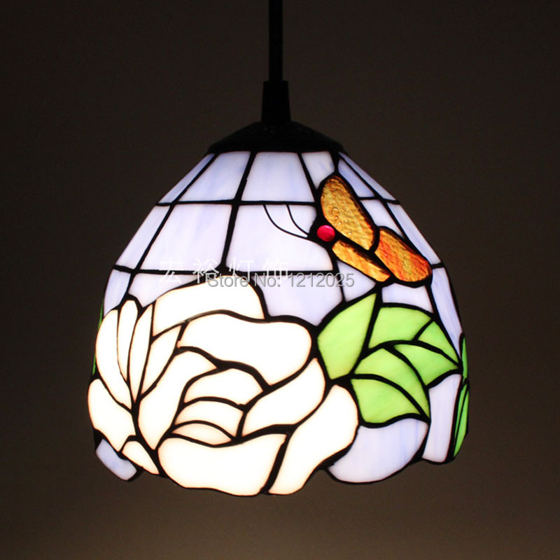 fantastic tiffany style rose pendant lamp with butterfly stained glass. Black Bedroom Furniture Sets. Home Design Ideas