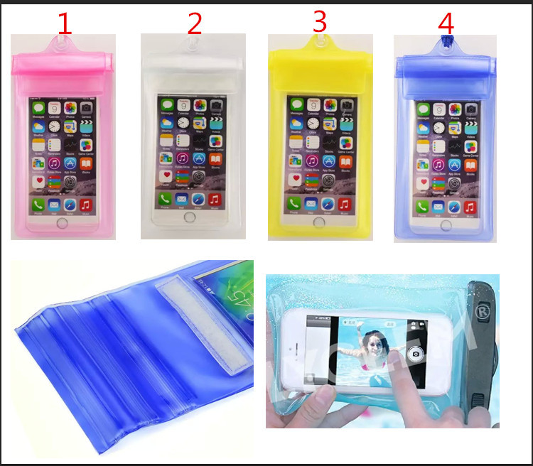 6 inch for iPhone 6 5 for galaxy S6 PVC Transaprent Waterproof Bag with magic tape Underwater Phone Pouch swim Diving Bag Case(China (Mainland))