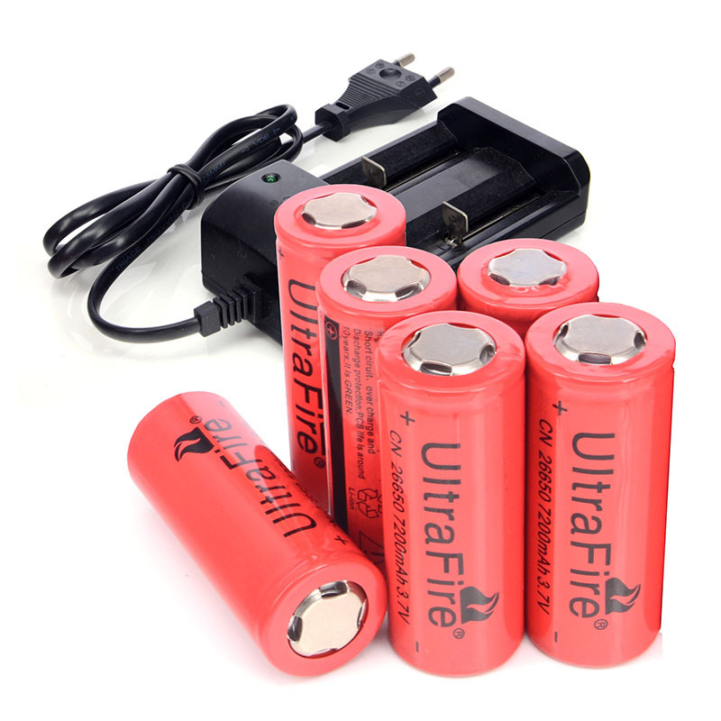 Recharge Batteries 6 PCS/LOT 26650 3.7v 7200mAh Batteries for Strong Light Flashlights Torches + Charger(China (Mainland))