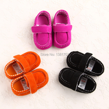 New Cute Pure Orange/Rose/Black/Navy Simple Retro Trend Soft Sole Baby Shoes for Boys and Girls(China (Mainland))